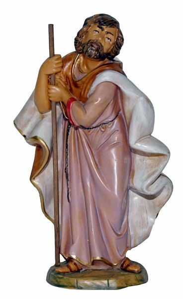 Picture of Saint Joseph cm 20 (8 inch) Lux Euromarchi Nativity Scene Traditional style in wood stained plastic PVC for outdoor use