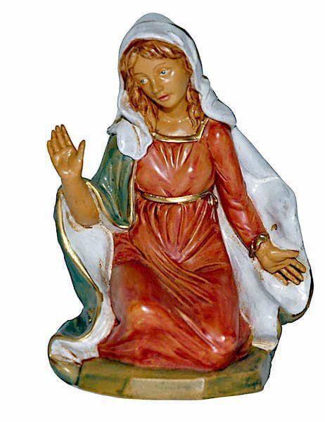 Immagine di Madonna / Maria cm 20 (8 inch) Lux Presepe Euromarchi in plastica PVC per esterno tinto legno Stile Tradizionale