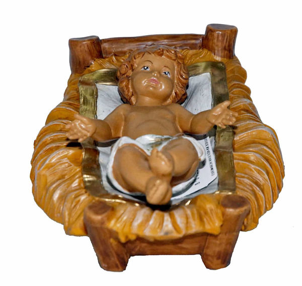 Picture of Baby Jesus in Cradle cm 20 (8 inch) Lux Euromarchi Nativity Scene Traditional style in wood stained plastic PVC for outdoor use