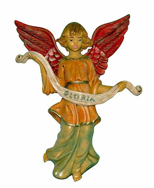 Picture of Glory Angel cm 20 (8 inch) Lux Euromarchi Nativity Scene Traditional style in wood stained plastic PVC for outdoor use