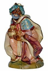 Picture of Melchior Saracen Wise King cm 20 (8 inch) Lux Euromarchi Nativity Scene Traditional style in wood stained plastic PVC for outdoor use
