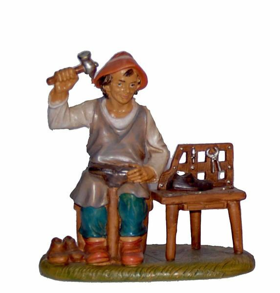 Picture of Shoemaker cm 20 (8 inch) Lux Euromarchi Nativity Scene Traditional style in wood stained plastic PVC for outdoor use