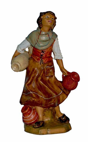 Picture of Woman with Jugs cm 20 (8 inch) Lux Euromarchi Nativity Scene Traditional style in wood stained plastic PVC for outdoor use