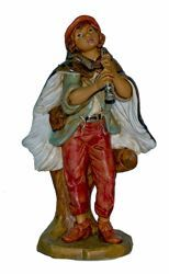 Picture of Young Shepherd with Flute cm 20 (8 inch) Lux Euromarchi Nativity Scene Traditional style in wood stained plastic PVC for outdoor use