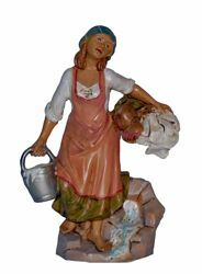 Picture of Washerwoman cm 20 (8 inch) Lux Euromarchi Nativity Scene Traditional style in wood stained plastic PVC for outdoor use