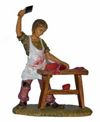 Picture of Butcher cm 20 (8 inch) Lux Euromarchi Nativity Scene Traditional style in wood stained plastic PVC for outdoor use