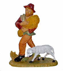 Picture of Shepherd with Hay cm 20 (8 inch) Lux Euromarchi Nativity Scene Traditional style in wood stained plastic PVC for outdoor use