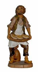 Picture of Shepherd with Bread cm 20 (8 inch) Lux Euromarchi Nativity Scene Traditional style in wood stained plastic PVC for outdoor use