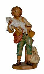 Picture of Shepherd with Sheep cm 20 (8 inch) Lux Euromarchi Nativity Scene Traditional style in wood stained plastic PVC for outdoor use