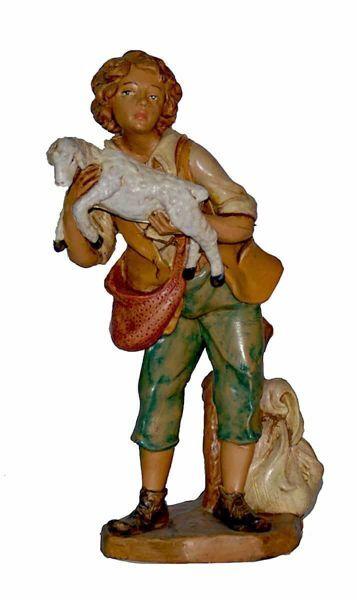 Immagine di Pastore con Pecora in braccio cm 20 (8 inch) Lux Presepe Euromarchi in plastica PVC per esterno tinto legno Stile Tradizionale