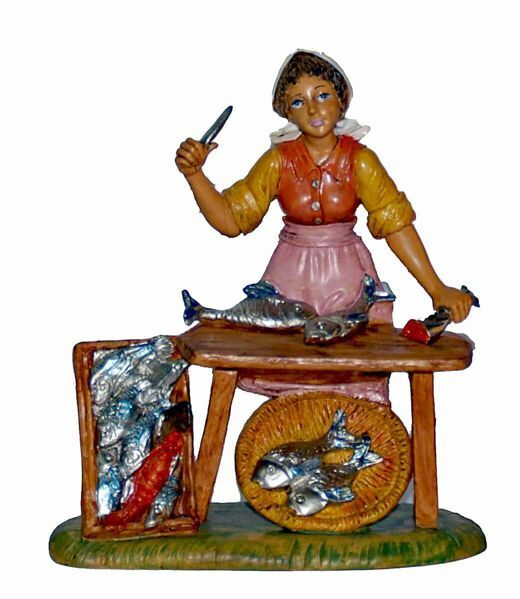 Picture of Shepherdess Fishmonger cm 20 (8 inch) Lux Euromarchi Nativity Scene Traditional style in wood stained plastic PVC for outdoor use