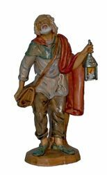 Picture of Man with Lantern cm 20 (8 inch) Lux Euromarchi Nativity Scene Traditional style in wood stained plastic PVC for outdoor use