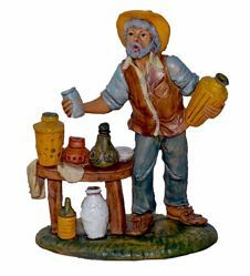 Picture of Man with Jugs cm 20 (8 inch) Lux Euromarchi Nativity Scene Traditional style in wood stained plastic PVC for outdoor use