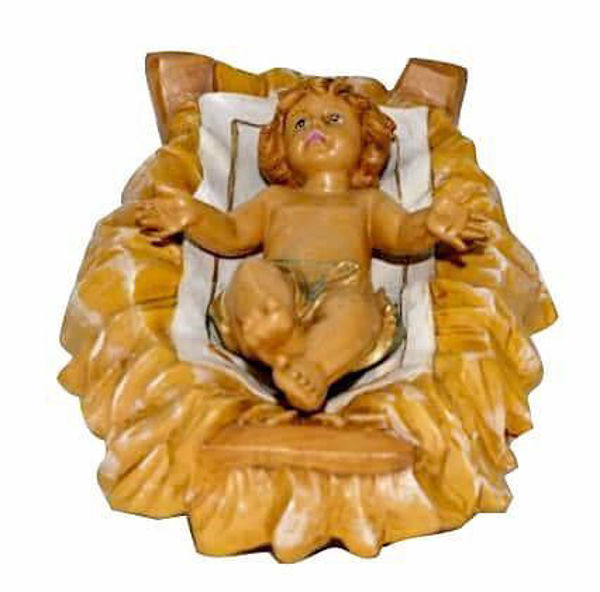 Imagen de Niño Jesús en Cuna cm 30 (12 inch) Lux Belén Euromarchi Estilo Tradicional en plástico PVC efecto madera para exteriores