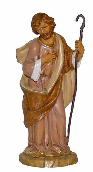 Immagine di San Giuseppe cm 30 (12 inch) Lux Presepe Euromarchi in plastica PVC per esterno tinto legno Stile Tradizionale