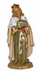 Picture of Caspar White Wise King cm 30 (12 inch) Lux Euromarchi Nativity Scene Traditional style in wood stained plastic PVC for outdoor use