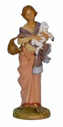 Picture of Woman with Sheep cm 30 (12 inch) Lux Euromarchi Nativity Scene Traditional style in wood stained plastic PVC for outdoor use
