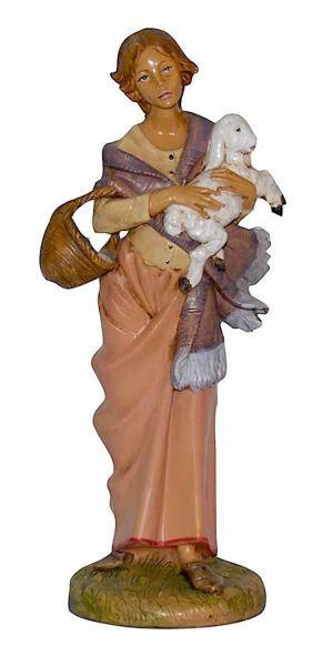 Imagen de Mujer con Oveja cm 30 (12 inch) Lux Belén Euromarchi Estilo Tradicional en plástico PVC efecto madera para exteriores