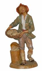 Picture of Shepherd with Bread cm 30 (12 inch) Lux Euromarchi Nativity Scene Traditional style in wood stained plastic PVC for outdoor use