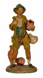 Picture of Shepherd with Jugs cm 30 (12 inch) Lux Euromarchi Nativity Scene Traditional style in wood stained plastic PVC for outdoor use