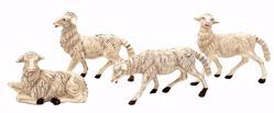 Picture of 4 Sheep Set cm 30 (12 inch) Lux Euromarchi Nativity Scene Traditional style in plastic PVC for outdoor use