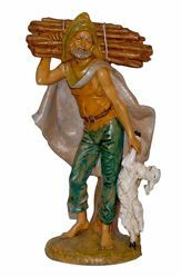 Picture of Shepherd with Lantern cm 30 (12 inch) Lux Euromarchi Nativity Scene Traditional style in wood stained plastic PVC for outdoor use