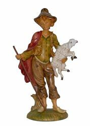 Picture of Shepherd with Sheep cm 30 (12 inch) Lux Euromarchi Nativity Scene Traditional style in wood stained plastic PVC for outdoor use
