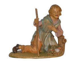 Picture of Kneeling Shepherd cm 30 (12 inch) Lux Euromarchi Nativity Scene Traditional style in wood stained plastic PVC for outdoor use