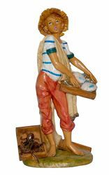 Picture of Fishmonger cm 30 (12 inch) Lux Euromarchi Nativity Scene Traditional style in wood stained plastic PVC for outdoor use