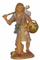 Picture of Man with Stick cm 30 (12 inch) Lux Euromarchi Nativity Scene Traditional style in wood stained plastic PVC for outdoor use