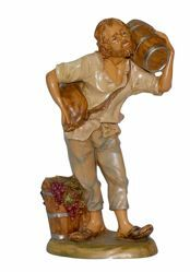 Picture of Man with Barrel cm 30 (12 inch) Lux Euromarchi Nativity Scene Traditional style in wood stained plastic PVC for outdoor use