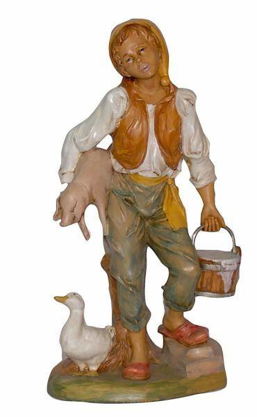 Immagine di Uomo con Maiale cm 30 (12 inch) Lux Presepe Euromarchi in plastica PVC per esterno tinto legno Stile Tradizionale