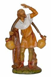 Picture of Old Man with Jugs cm 30 (12 inch) Lux Euromarchi Nativity Scene Traditional style in wood stained plastic PVC for outdoor use