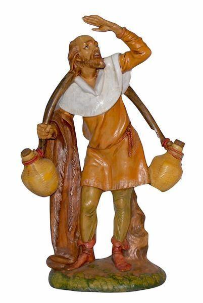 Immagine di Vecchio con Brocche cm 30 (12 inch) Lux Presepe Euromarchi in plastica PVC per esterno tinto legno Stile Tradizionale