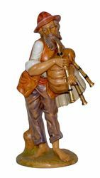 Picture of Bagpiper cm 30 (12 inch) Lux Euromarchi Nativity Scene Traditional style in wood stained plastic PVC for outdoor use