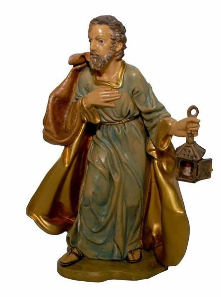 Picture of Saint Joseph cm 20 (8 inch) Euromarchi Nativity Scene Neapolitan style in wood stained plastic PVC for outdoor use