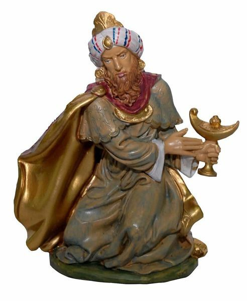 Picture of Melchior Saracen Wise King cm 20 (8 inch) Euromarchi Nativity Scene Neapolitan style in wood stained plastic PVC for outdoor use