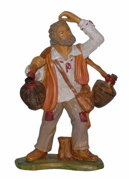 Picture of Shepherd with Pitchers cm 20 (8 inch) Euromarchi Nativity Scene Neapolitan style in wood stained plastic PVC for outdoor use