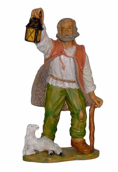 Picture of Shepherd with Lantern cm 20 (8 inch) Euromarchi Nativity Scene Neapolitan style in wood stained plastic PVC for outdoor use