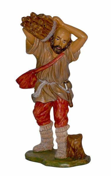 Immagine di Pastore con Legna cm 20 (8 inch) Presepe Euromarchi in plastica PVC per esterno tinto legno Stile Napoletano