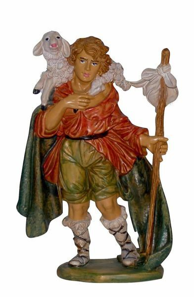 Picture of Shepherd with Sheep cm 20 (8 inch) Euromarchi Nativity Scene Neapolitan style in wood stained plastic PVC for outdoor use