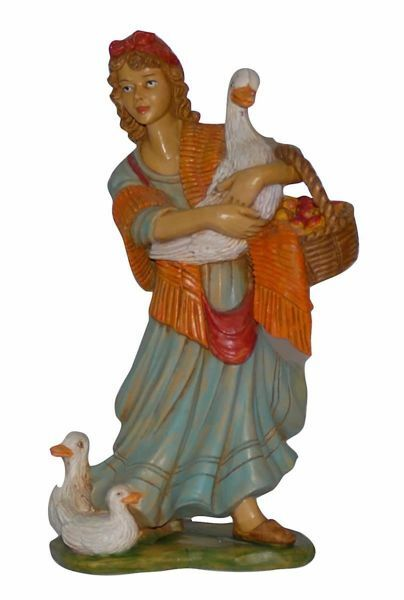Picture of Shepherdess with Duck cm 20 (8 inch) Euromarchi Nativity Scene Neapolitan style in wood stained plastic PVC for outdoor use