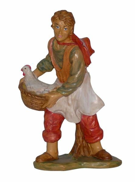 Picture of Shepherd with Hen cm 20 (8 inch) Euromarchi Nativity Scene Neapolitan style in wood stained plastic PVC for outdoor use