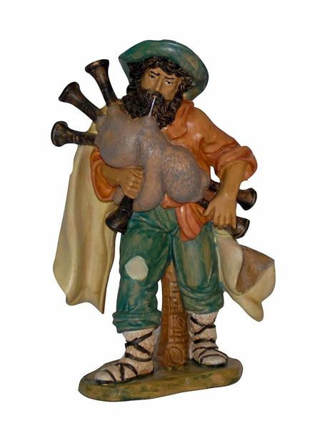 Picture of Bagpiper Shepherd cm 20 (8 inch) Euromarchi Nativity Scene Neapolitan style in wood stained plastic PVC for outdoor use