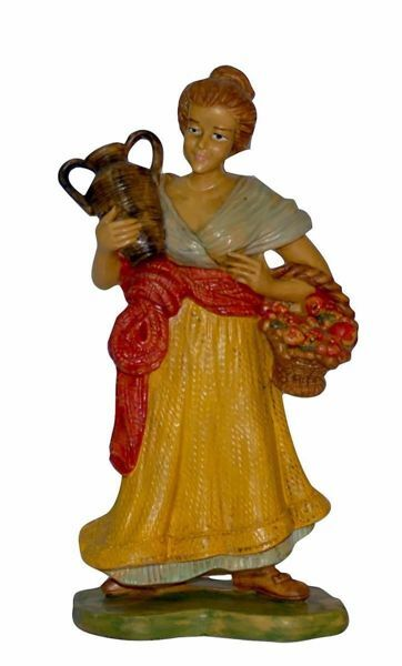 Picture of Shepherdess with Amphora cm 20 (8 inch) Euromarchi Nativity Scene Neapolitan style in wood stained plastic PVC for outdoor use