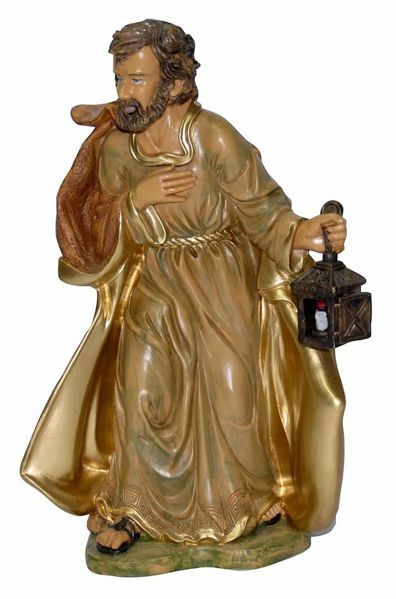 Picture of Saint Joseph cm 30 (12 inch) Euromarchi Nativity Scene Neapolitan style in wood stained plastic PVC for outdoor use