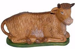 Picture of Ox cm 30 (12 inch) Euromarchi Nativity Scene Neapolitan style in wood stained plastic PVC for outdoor use