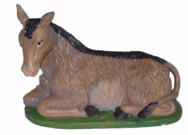 Picture of Donkey cm 30 (12 inch) Euromarchi Nativity Scene Neapolitan style in wood stained plastic PVC for outdoor use