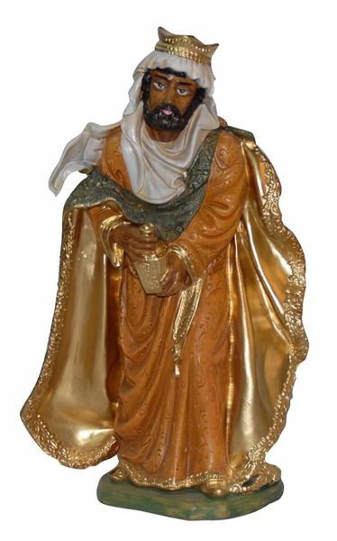 Picture of Balthazar Black Wise King cm 30 (12 inch) Euromarchi Nativity Scene Neapolitan style in wood stained plastic PVC for outdoor use