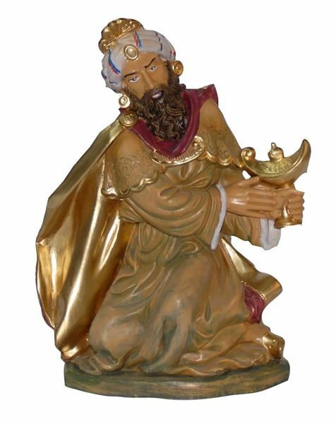 Picture of Melchior Saracen Wise King cm 30 (12 inch) Euromarchi Nativity Scene Neapolitan style in wood stained plastic PVC for outdoor use